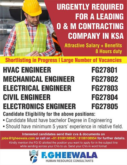 HVAC Engineer, Mechanical Engineer, Electrical Engineer, Civil Engineer, Electronics Engineer, Suadi Arabia
