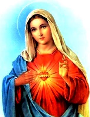 Dibujo de la Virgen María a colores