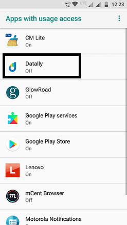 Apps with usage access