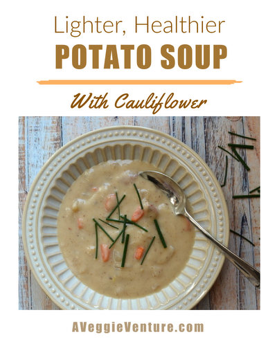 Potato Soup, all the great taste, lighter and healthier with cauliflower ♥ AVeggieVenture.com. Lower-Carb & Lower-Cal. Homemade Comfort Food. Perfect for Cold Weather. Great for Meal Prep. Weeknight Easy. Naturally Gluten Free.