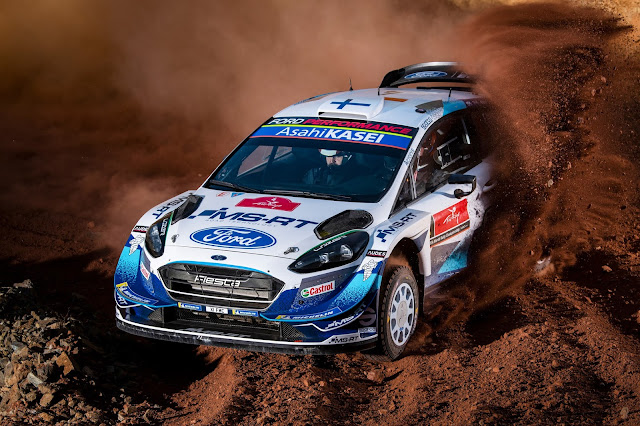 Rally Driver Esapekka Lappi driving his ford fiesta World Rally Car