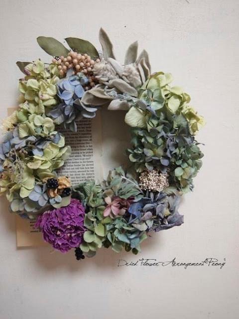 芍薬と紫陽花のリース