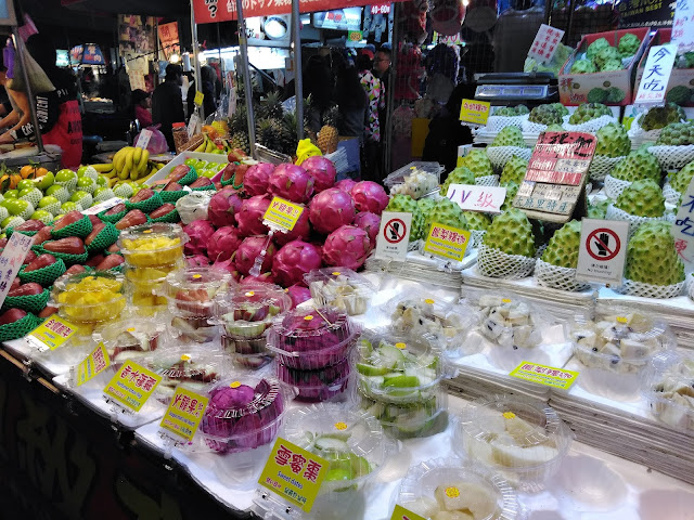 fruit stand night market taipei taiwan