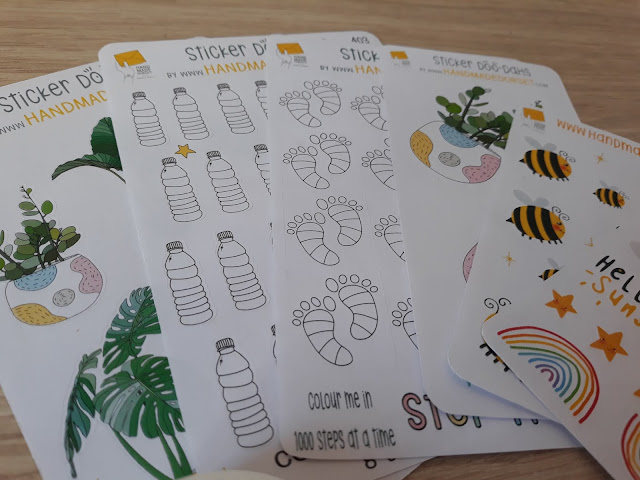 The image shows a collection of coloured planner stickers that I have used in my bullet journal.