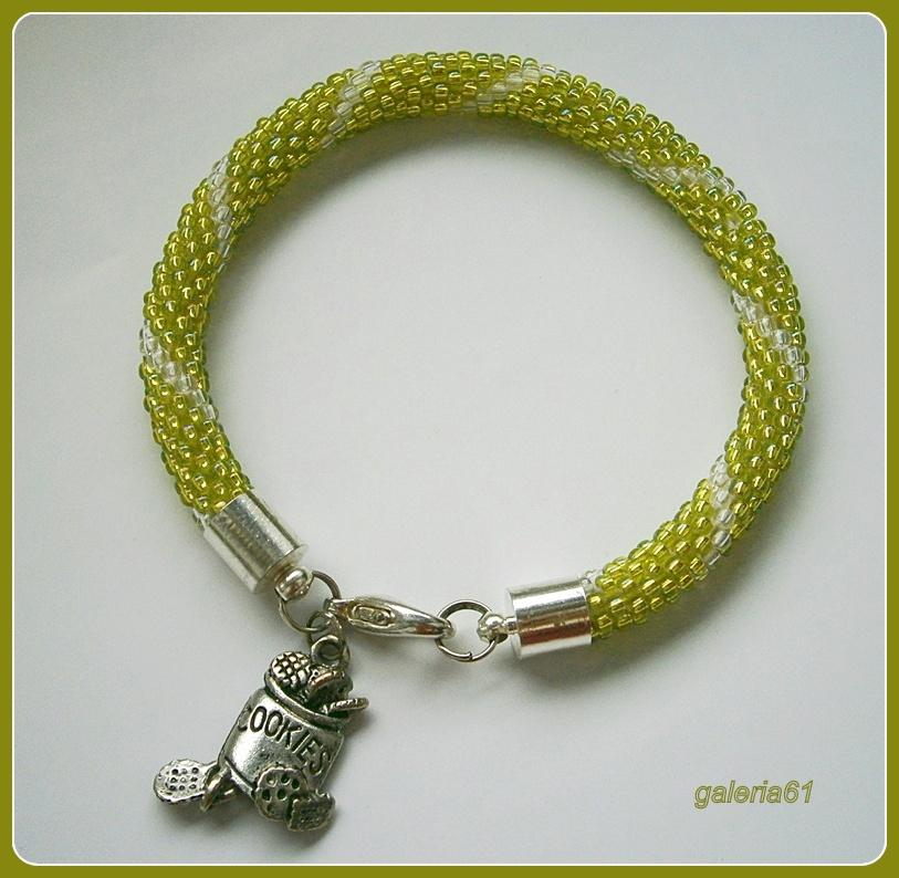 bransoletka zielona, sznur szydełkowo koralikowy, toho