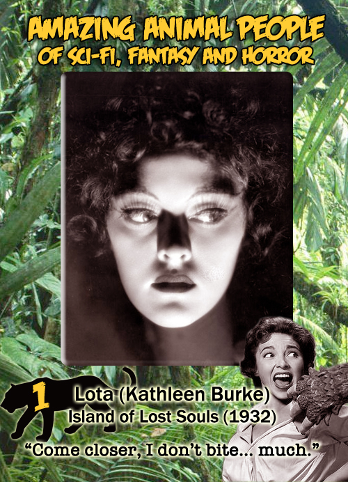 Amazing Animal People trading card #1: Lota from Island of Lost Souls, 1932