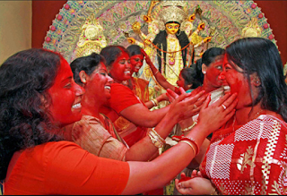 Durga Puja Festival places of Shiva, Lakshmi & Kali and Durga Puja is the biggest festival in state which is celebrated for four days and during conclusion idols are immersed in rivers and water bodies as religious ceremony