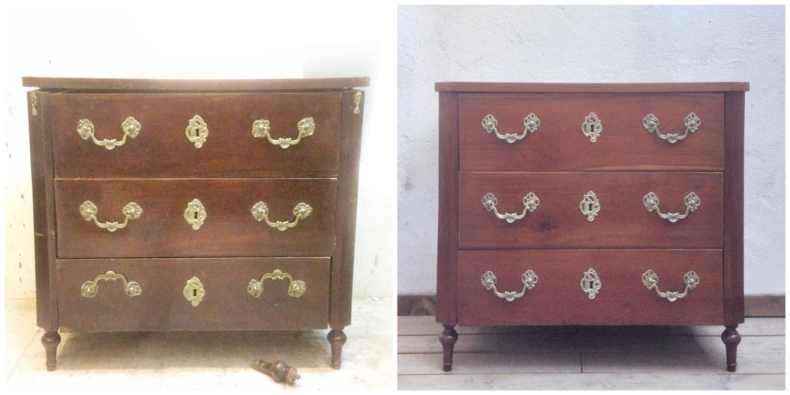 Antes y después - una cajonera restaurada