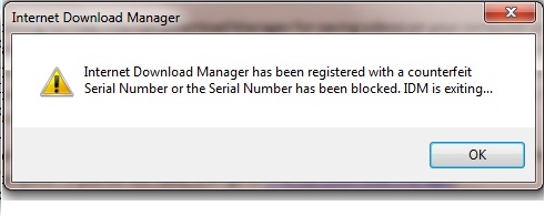 internet download manager has been registered with a counterfeit serial number
