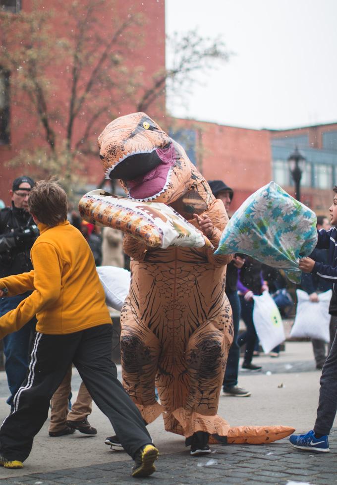 dinosaur costume, pillow fight