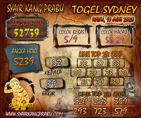 Bocoran Sydney Rabu 17 Juni 2020 - Kang Prabu