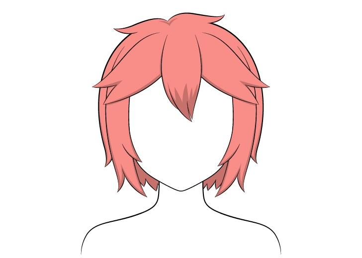 Anime shading rambut pendek berantakan