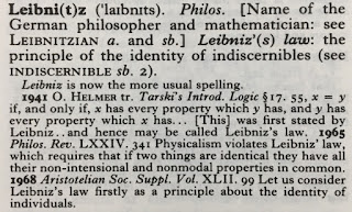 The entry for leibniz in the Oxford English Dictionary.