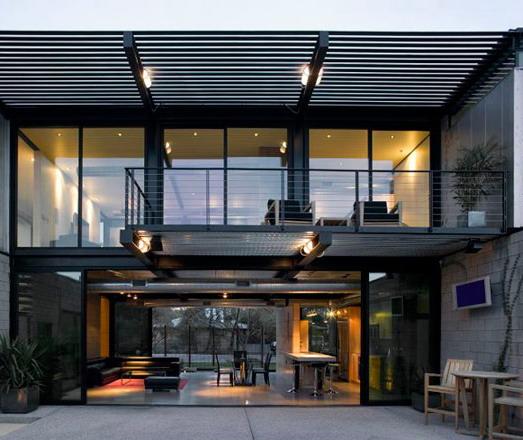 rumah minimalis industrial menggunakan struktur baja