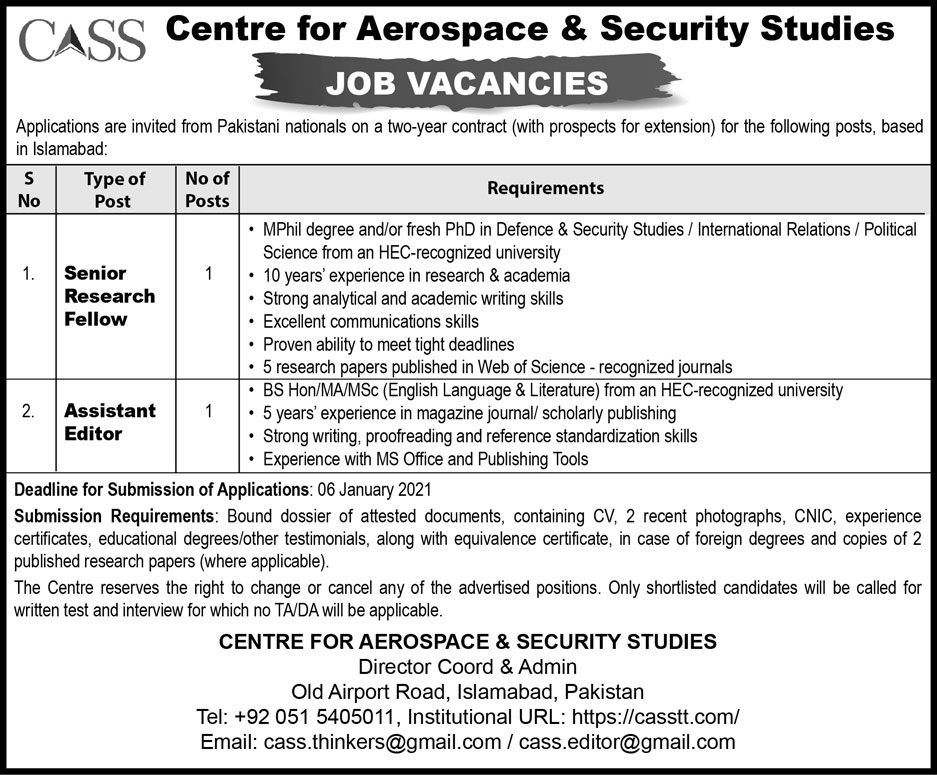 Centre for Aerospace and Security Studies Jobs  Islamabad Jobs  CASS Jobs