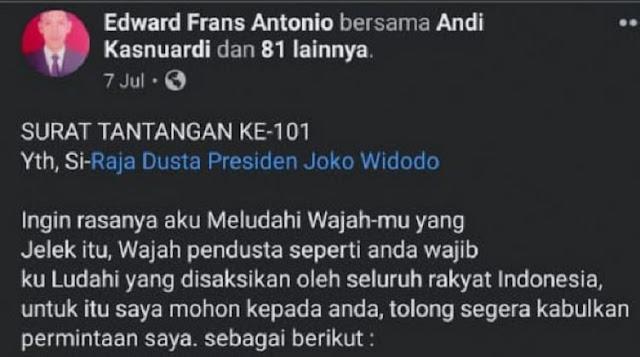 Bikin Surat Tantangan Ingin Ludahi Jokowi, Pemilik Akun Ditangkap