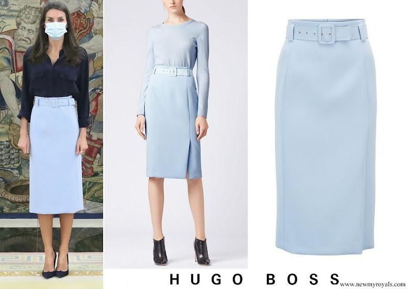 Queen Letizia wore Hugo Boss sky blue high waisted pencil skirt