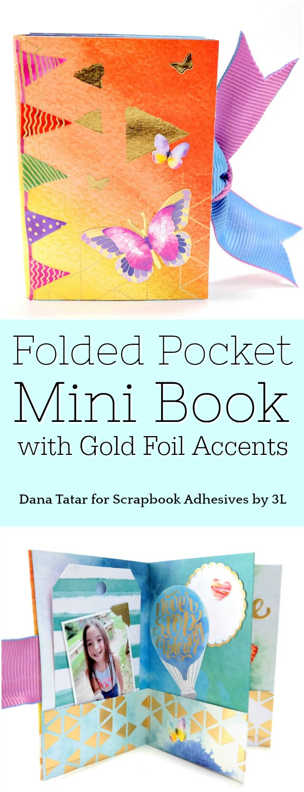 Folded Pocket Mini Book with Gold Foil Accents Tutorial
