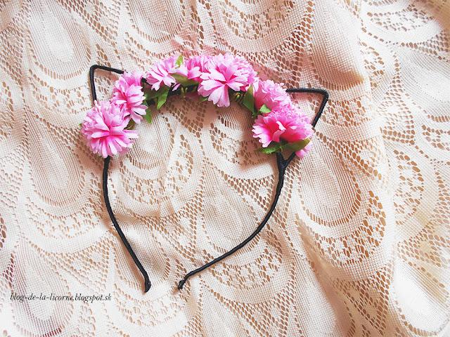 Floral Embellished Kitten Ear Headband