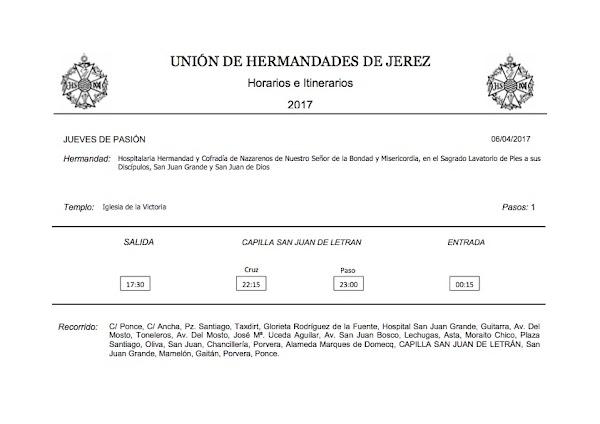 Programa, Horarios e Itinerarios de las Visperas de la Semana Santa Jerez (Cádiz) 2017
