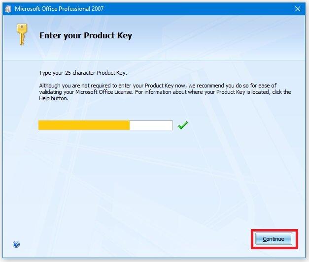 Microsoft Office professional 2007 key