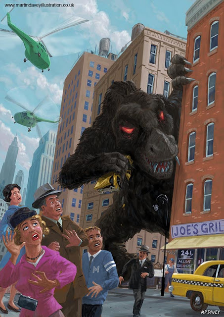 Davey artwork of creature in city causing panic scifi