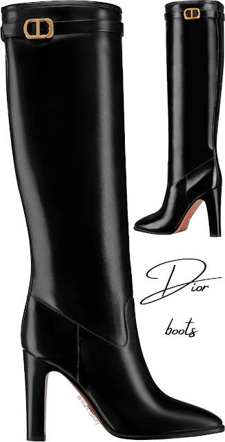 Black shiny calfskin Dior J'Adior Empreinte Boots #brilliantluxury