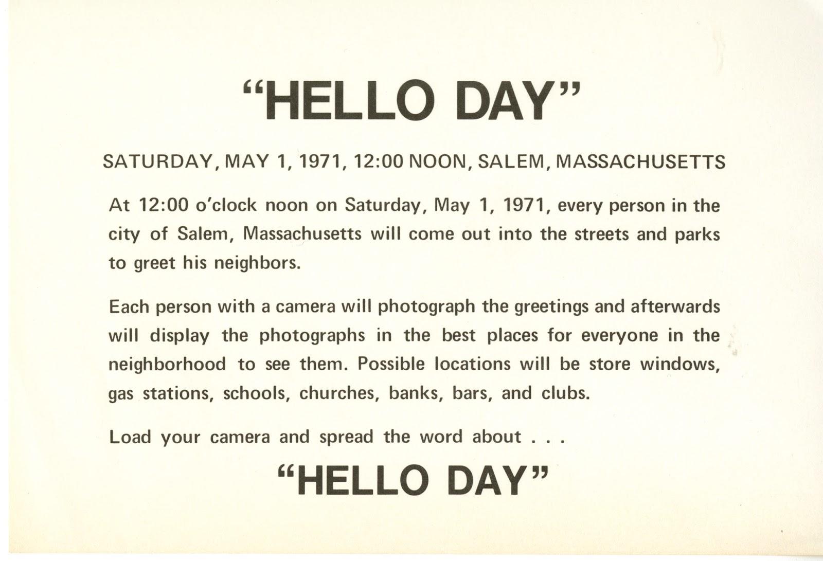 History By The Sea Hello Day Salem Massachusetts