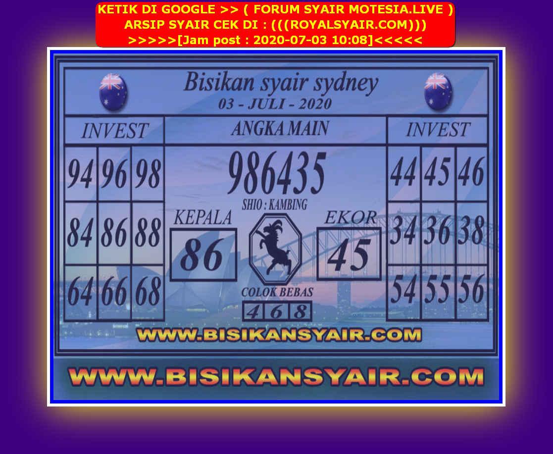 Kode syair Sydney Jumat 3 Juli 2020 202