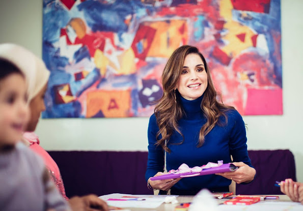 On the occasion of Mother's Day on Monday 21st March 2016, Queen Rania of Jordan visited children currently residing at Dar Al Aman, The Jordan River Foundation's (JRF) Child Safety Center. diamond earrings, diamond rings, baracelet, newmyroyals, new my royals, newmy royals