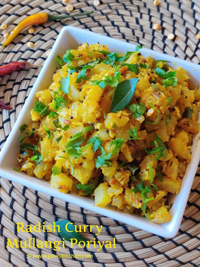 mullangi poriyal recipe | radish poriyal | mullangi curry | radish palya