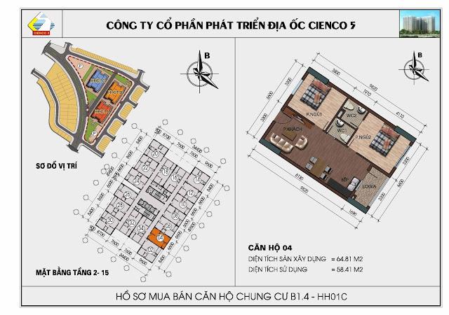 Sơ đồ căn hộ 04 chung cư Thanh Hà Cienco 5 tòa HH01C