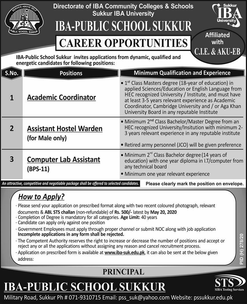IBA Public School Sukkur Jobs 2020 for Coordinator, Warden & Computer Lab Attendant