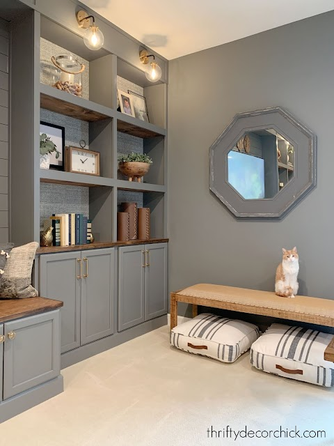 matching walls and built ins in gray