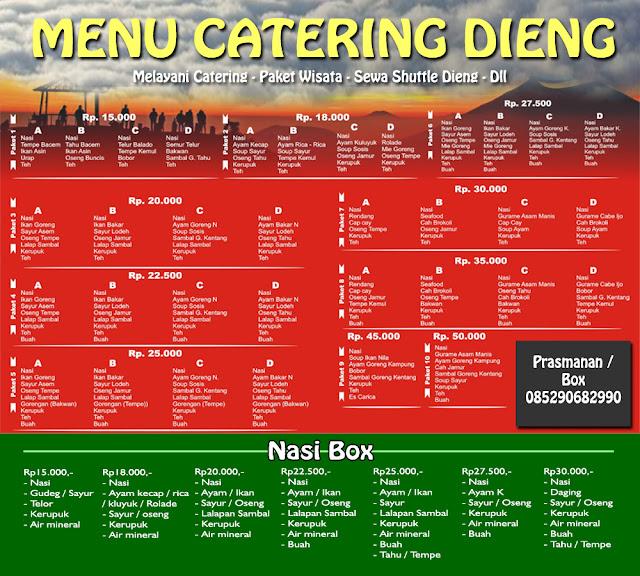 brosur daftar harga catering dieng