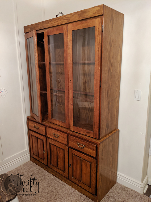 How to remove smoke smell from furniture. China cabinet makeover. Farmhouse china cabinet. China cabinet decorating ideas. China cabinet display.