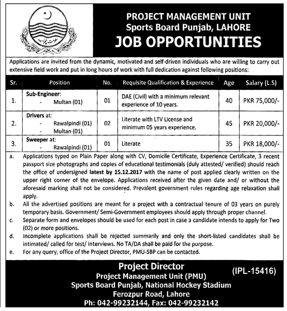 Jobs in  Sport Board Punjab Lahore 24 November 2017
