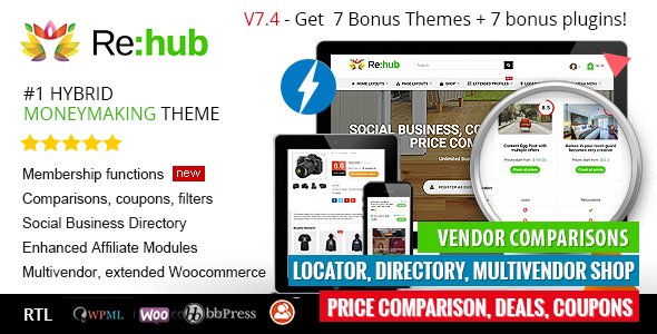 Free Download REHub - Price Comparison, Affiliate Marketing, Multi Vendor Store, Community Theme