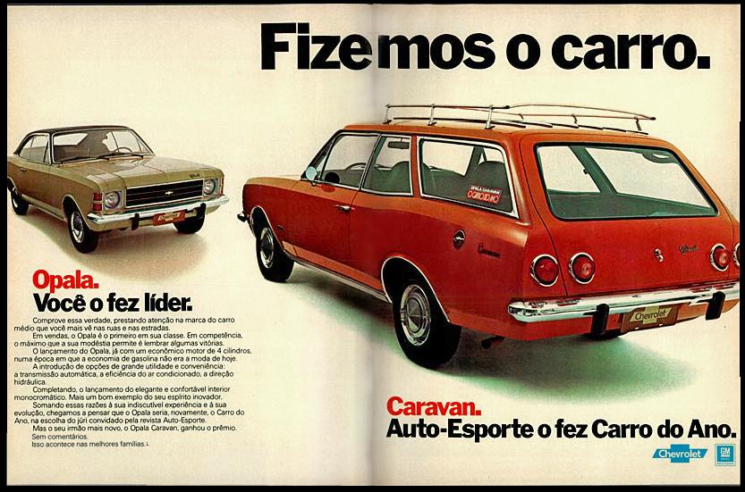 Propaganda antiga de lançamento da Caravan pela Chevrolet em 1976