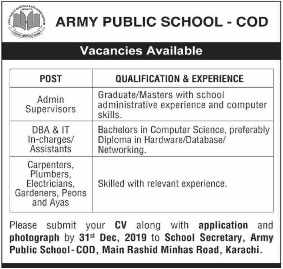 Army Public School APS COD Karachi Jobs 2019 Latest