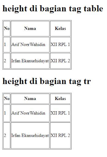 Belajar Mengatur Tinggi Tabel HTML