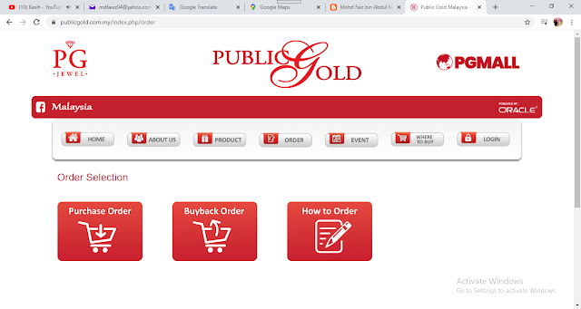 Interface Website Public Gold