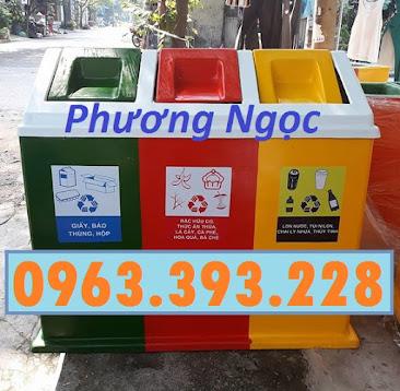 Thùng rác 3 ngăn phân loại rác, thùng rác 3 ngăn nhựa composite TR3N5