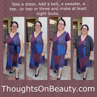 Woman wearing patchwork print dress in different ways