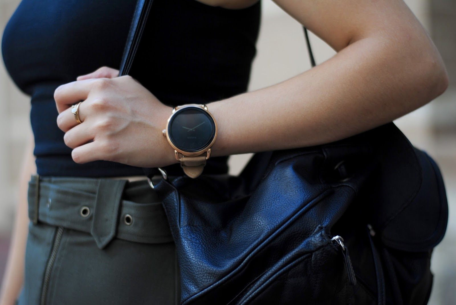 fossil q smartwatch fall transition outfit