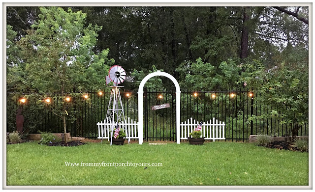 Backyard Landscape-Windmill-Cottage Garden-White picket fence-Farmhouse Style- White Garden Arbor-From My Front Porch To Yours