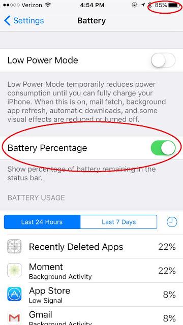 mengetahui berapa persen batre iphone