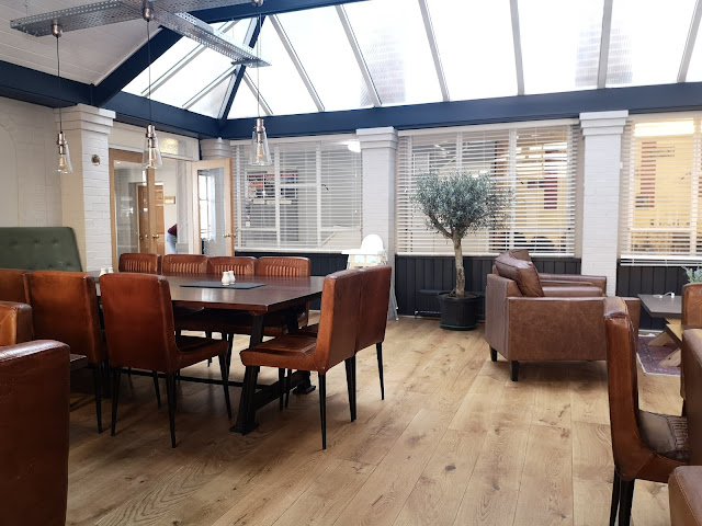 Conference centre dining room with engineered wood flooring