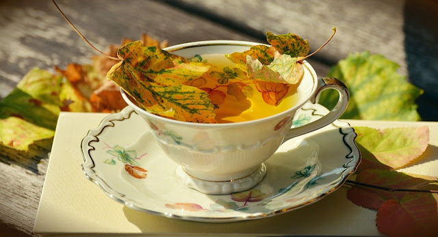 cup of tea in autumn