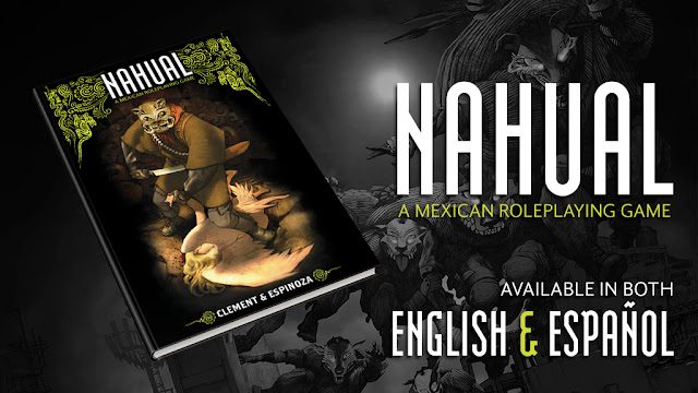 A Kickstarter promo image showing the cover mockup and noting that Nahual is a Mexican roleplaying game available in both English and Spanish
